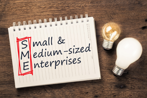 Picture of the words Small and Medium Sized Enterprises on a notepad with some lightbulbs sat beside