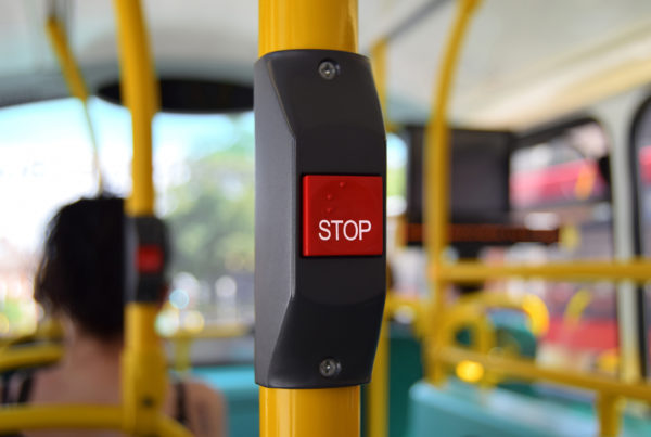 Stop button on board a bus