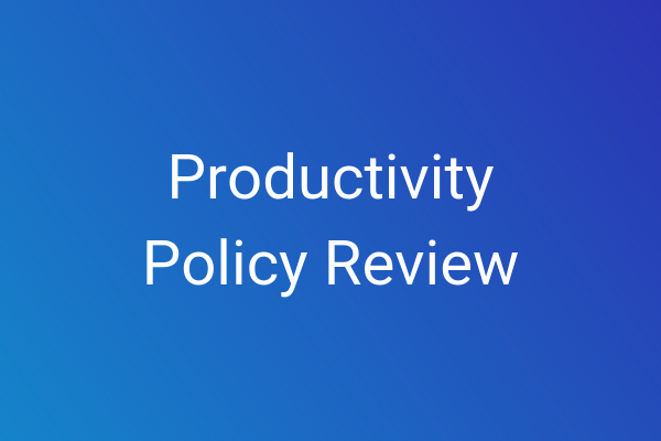 Blue box with productivity policy review title