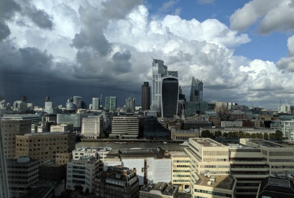 A view of cloudy London from the Shard